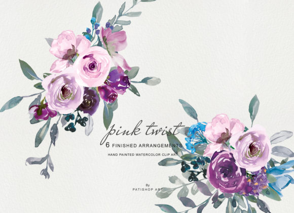 Watercolor Pink and Purple Roses Clipart Graphic Illustrations By Patishop Art