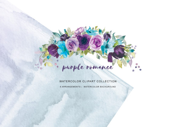 Watercolor Purple Lilac & Turquoise Set Graphic Illustrations By Patishop Art
