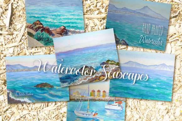 Print on Demand: Watercolor Seascapes Graphic Illustrations By natalia.piacheva