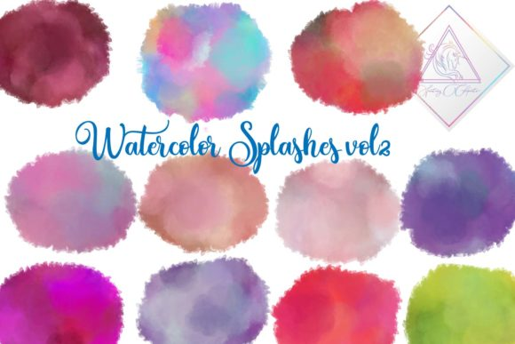Print on Demand: Watercolor Splashes Clipart Vol2 Graphic Illustrations By fantasycliparts