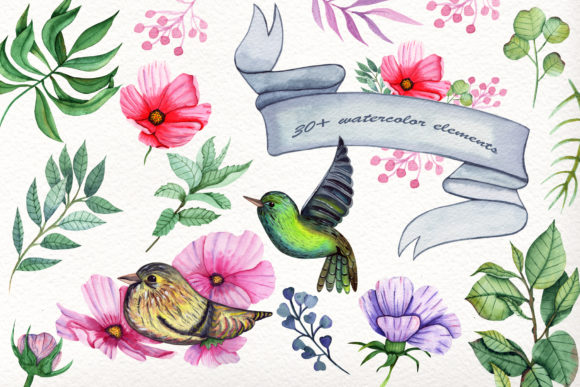 Print on Demand: Watercolor Summer Collection Graphic Illustrations By tanatadesign - Image 2
