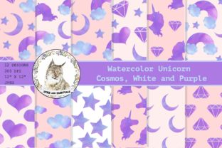 Download Free Watercolor Unicorn Digital Paper Pattern Graphic By Lynx And for Cricut Explore, Silhouette and other cutting machines.
