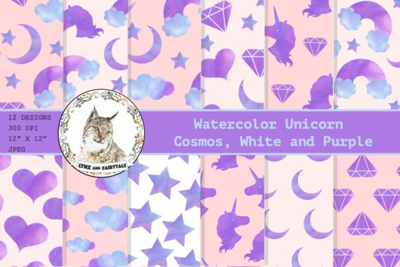 Watercolor Unicorn Digital Paper Pattern Graphic Patterns By Lynx and Fairytale