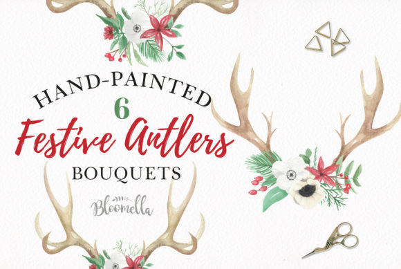 Watercolour Antlers Chritsmas Graphic Illustrations By Bloomella