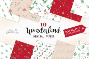 Watercolour Winter Festive Patterns Digital Papers Blooms Graphic By Bloomella
