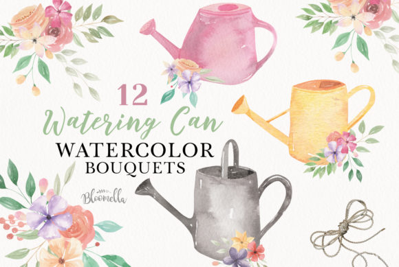 Watering Can Flowers Clipart Spring Graphic Illustrations By Bloomella