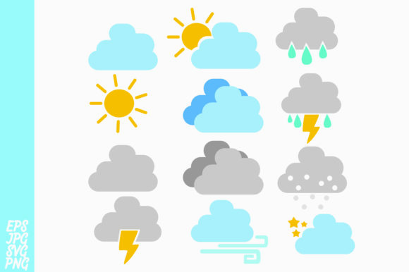 Download Free Weather Icon Bundle Graphic By Arief Sapta Adjie Creative Fabrica for Cricut Explore, Silhouette and other cutting machines.