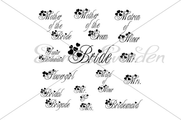 Download Free Wedding Bridal Party Bundle Svg File Graphic By Emmessweden for Cricut Explore, Silhouette and other cutting machines.