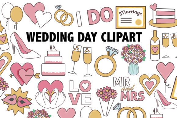 Print on Demand: Wedding Day Clipart Graphic Icons By Mine Eyes Design
