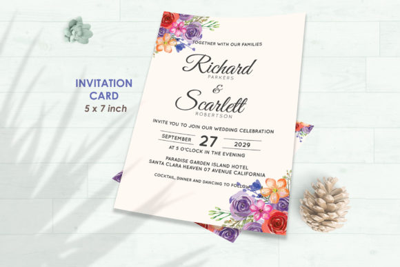 Download Free Wedding Invitation Set 10 Floral Style Graphic By Kagunan Arts for Cricut Explore, Silhouette and other cutting machines.