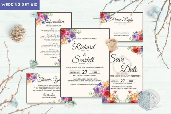 Wedding Invitation Set #10 Floral Style Graphic Print Templates By Kagunan Arts