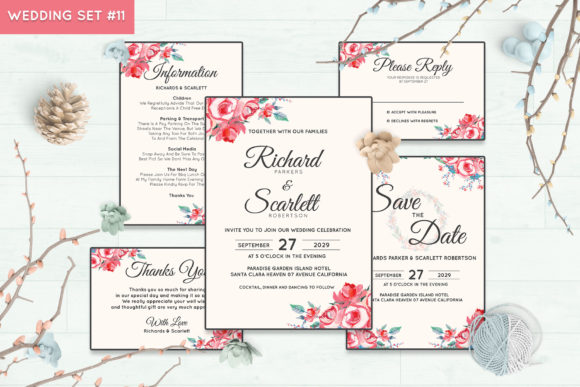 Wedding Invitation Set #11 Floral Style Graphic Print Templates By Kagunan Arts