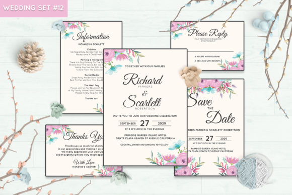 Download Free Wedding Invitation Set 3 Floral Style Graphic By Kagunan Arts for Cricut Explore, Silhouette and other cutting machines.