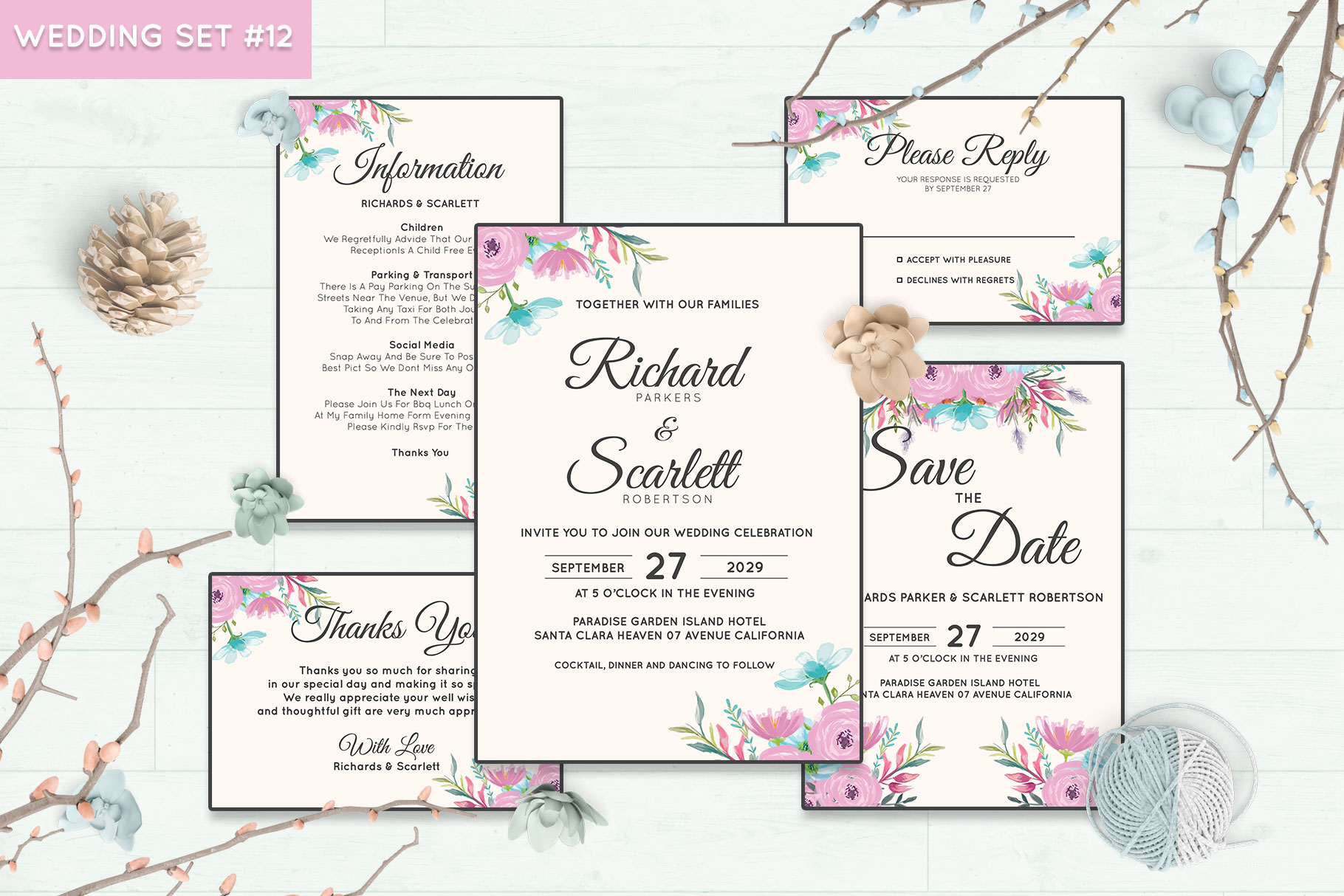 Download Free Wedding Invitation Set 12 Floral Style Graphic By Kagunan Arts for Cricut Explore, Silhouette and other cutting machines.