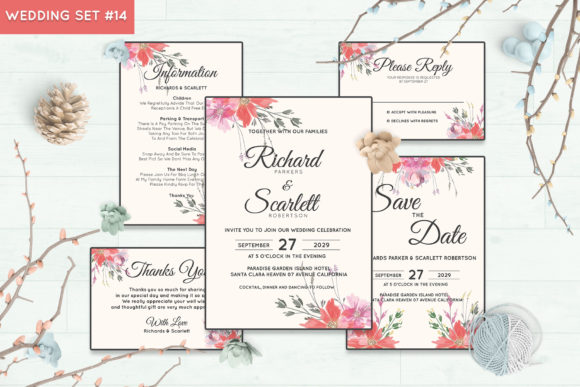 Wedding Invitation Set #14 Floral Style Graphic Print Templates By Kagunan Arts