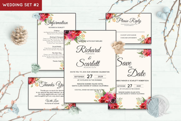 Wedding Invitation Set #2 Floral Style Graphic By Kagunan Arts