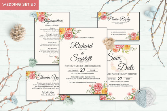 Wedding Invitation Set #3 Floral Style Graphic By Kagunan Arts
