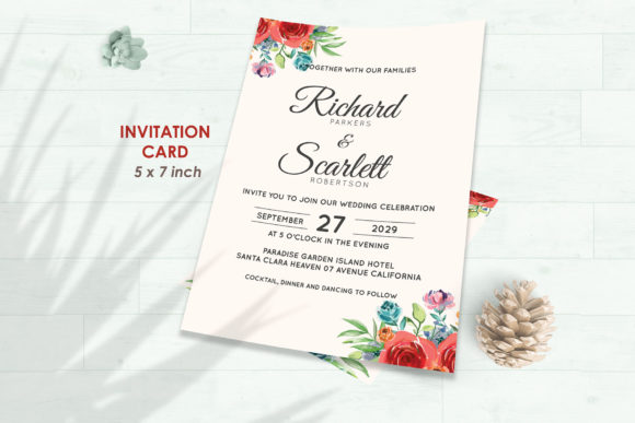Wedding Invitation Set #4 Floral Style Graphic Print Templates By Kagunan Arts - Image 2