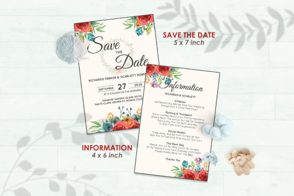 Wedding Invitation Set #4 Floral Style Graphic Print Templates By Kagunan Arts - Image 3