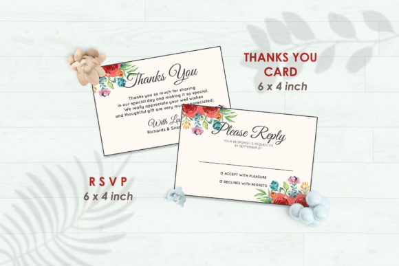Wedding Invitation Set #4 Floral Style Graphic Print Templates By Kagunan Arts - Image 4
