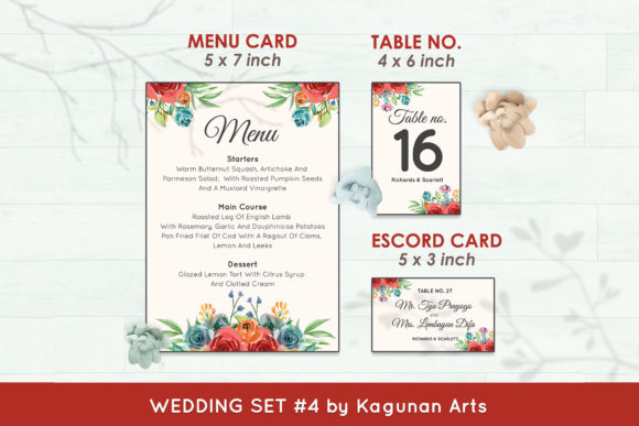 Wedding Invitation Set #4 Floral Style Graphic Print Templates By Kagunan Arts - Image 6