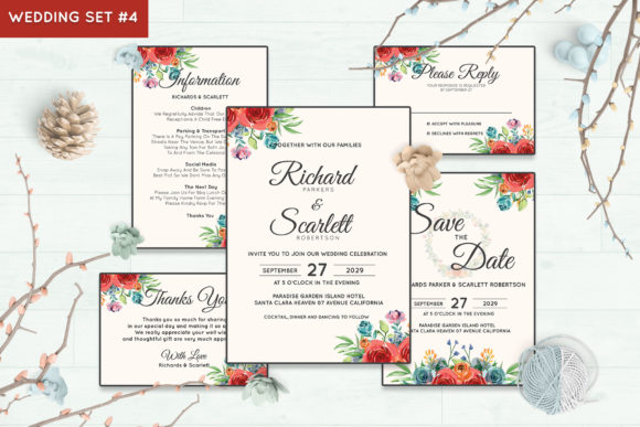 Wedding Invitation Set #4 Floral Style Graphic Print Templates By Kagunan Arts - Image 1