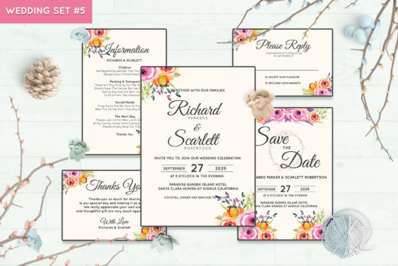 Wedding Invitation Set #5 Floral Style Graphic By Kagunan Arts