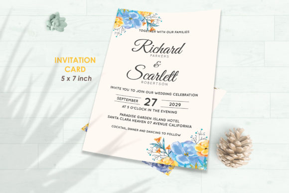 Download Free Wedding Invitation Set 7 Floral Style Graphic By Kagunan Arts for Cricut Explore, Silhouette and other cutting machines.