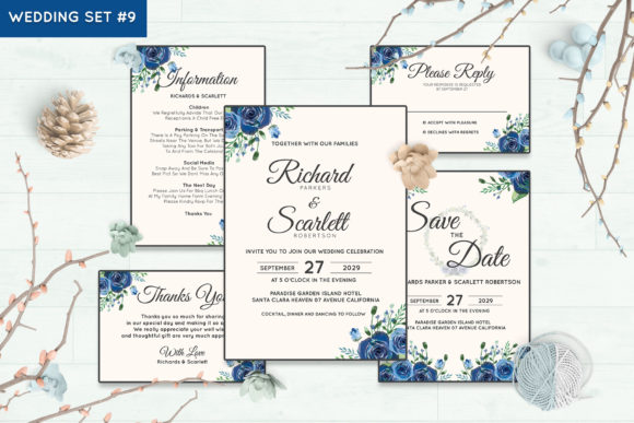Wedding Invitation Set #9 Floral Style Graphic Print Templates By Kagunan Arts