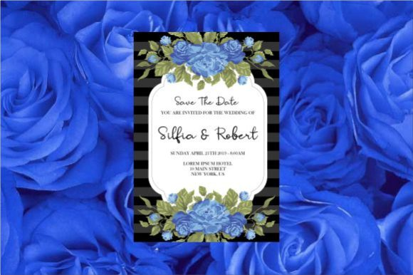 Wedding Invitation with Blue Rose Graphic By bint.studio