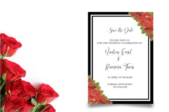 Wedding Invitation with Roses Graphic By bint.studio