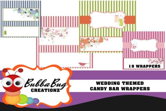 Wedding Themed Candy Bar Wrappers Graphic Crafts By BUBBABUG