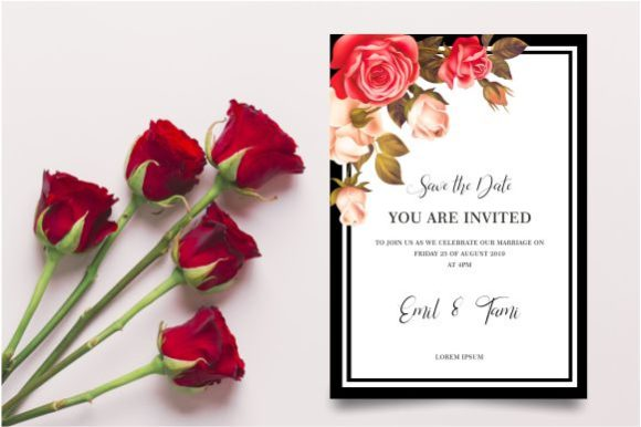 Wedding Invitation Template With Roses