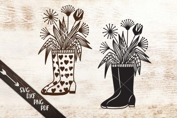 Wellies Rain Boots with Flowers Cut File Graphic Crafts By Cornelia