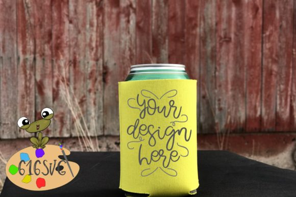 Yellow Can Cooler Mockup Graphic Product Mockups By 616SVG