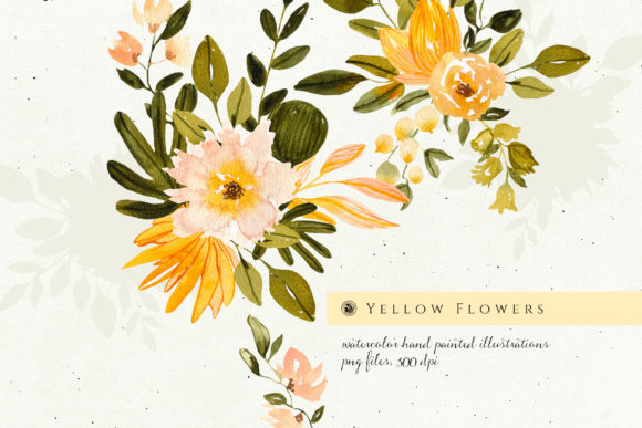 Yellow Watercolor Flowers Graphic Illustrations By webvilla