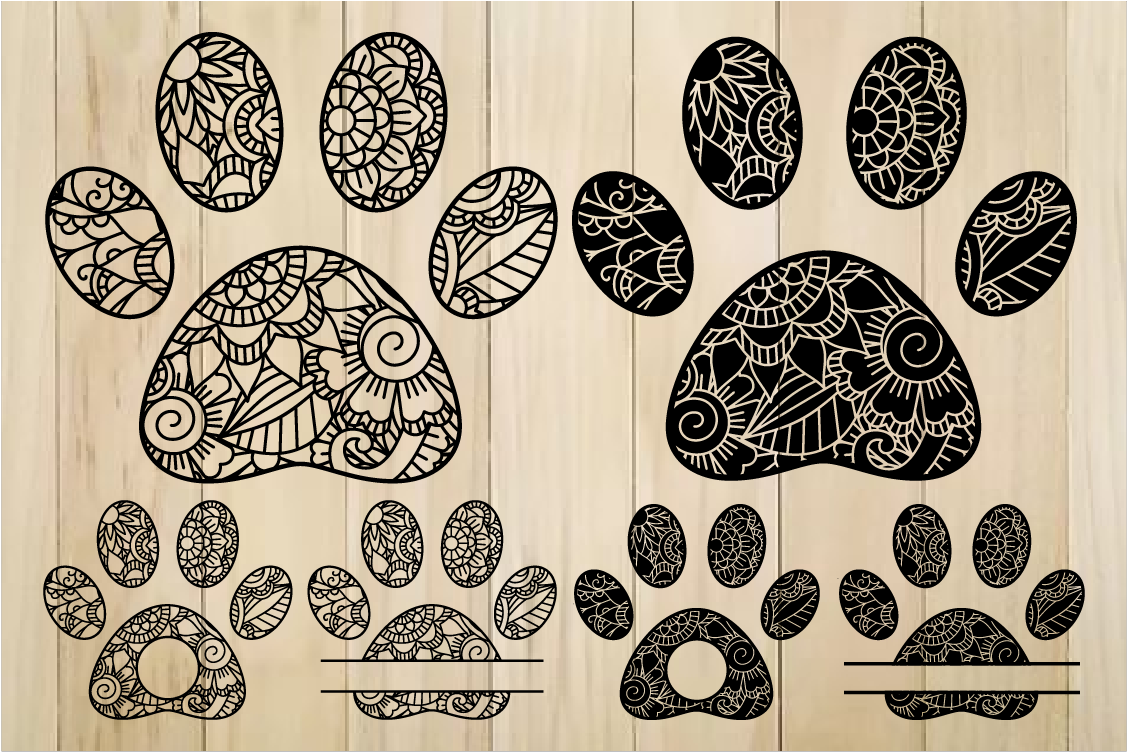 Download Free Zentangle Paws Graphic By Yulnniya Creative Fabrica for Cricut Explore, Silhouette and other cutting machines.