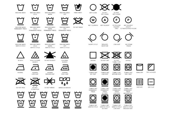 Laundry Care Symbol Icons Set Graphic Download