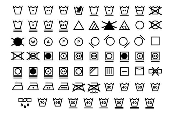 Laundry Care Symbol Icons Set Graphic