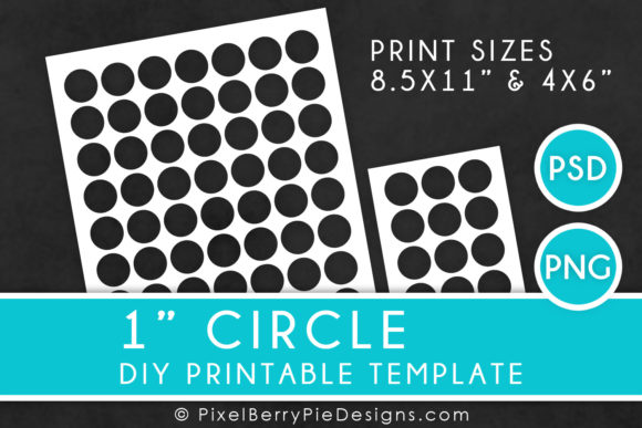 Print on Demand: 1 Inch Circle Printable Collage Template Graphic Print Templates By Pixel Berry Pie Designs