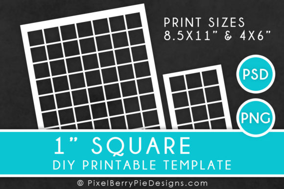 Print on Demand: 1 Inch Square Printable Collage Template Graphic Print Templates By Pixel Berry Pie Designs - Image 1
