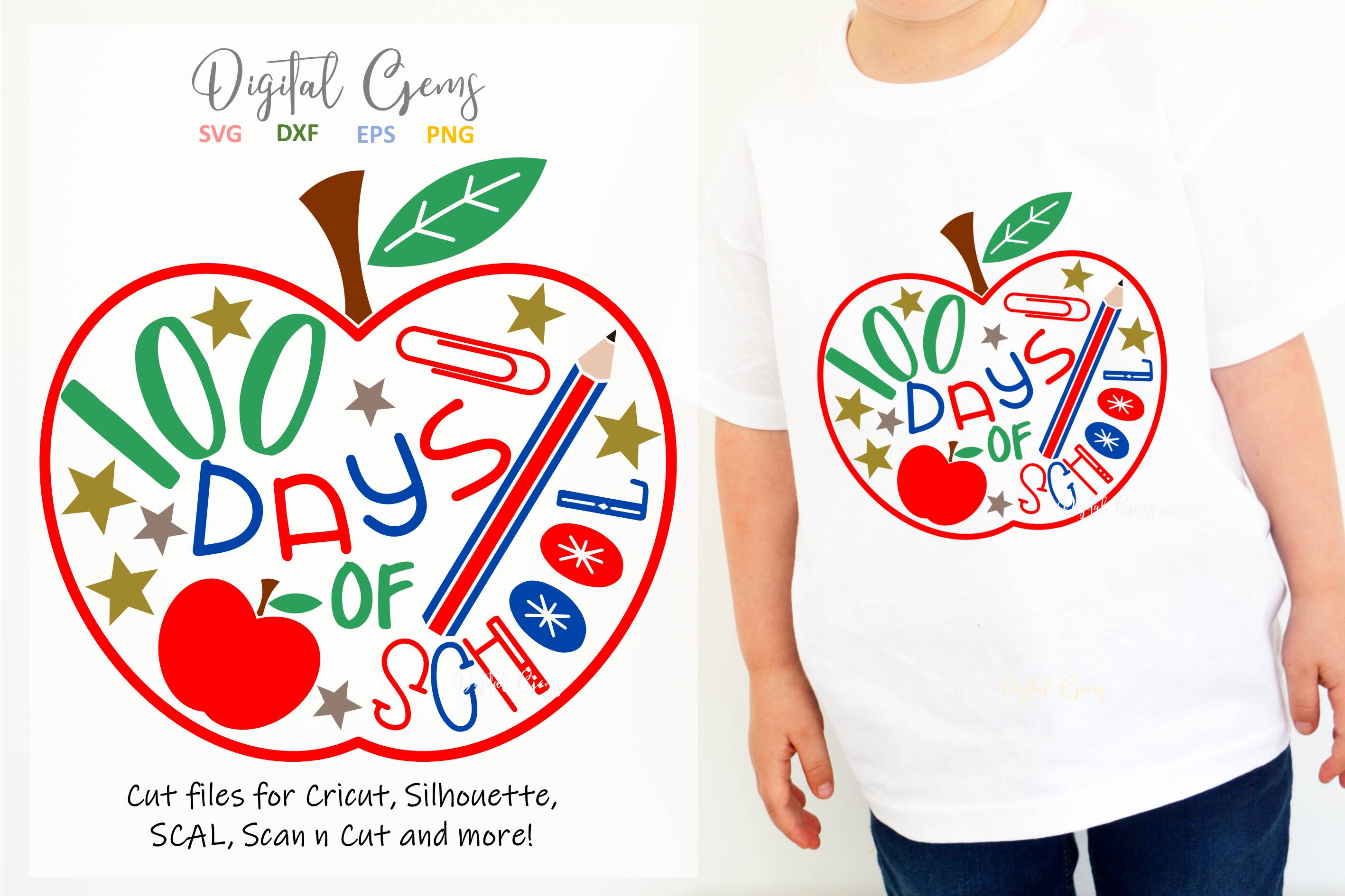 Download Free 100 Days Of School Design Graphic By Digital Gems Creative Fabrica for Cricut Explore, Silhouette and other cutting machines.