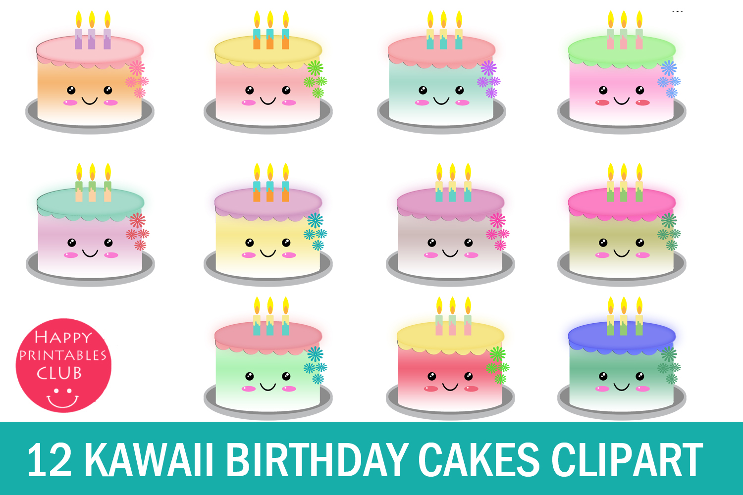 Awesome 12 Cute Kawaii Birthday Cakes Clipart Graphic By Happy Funny Birthday Cards Online Inifofree Goldxyz