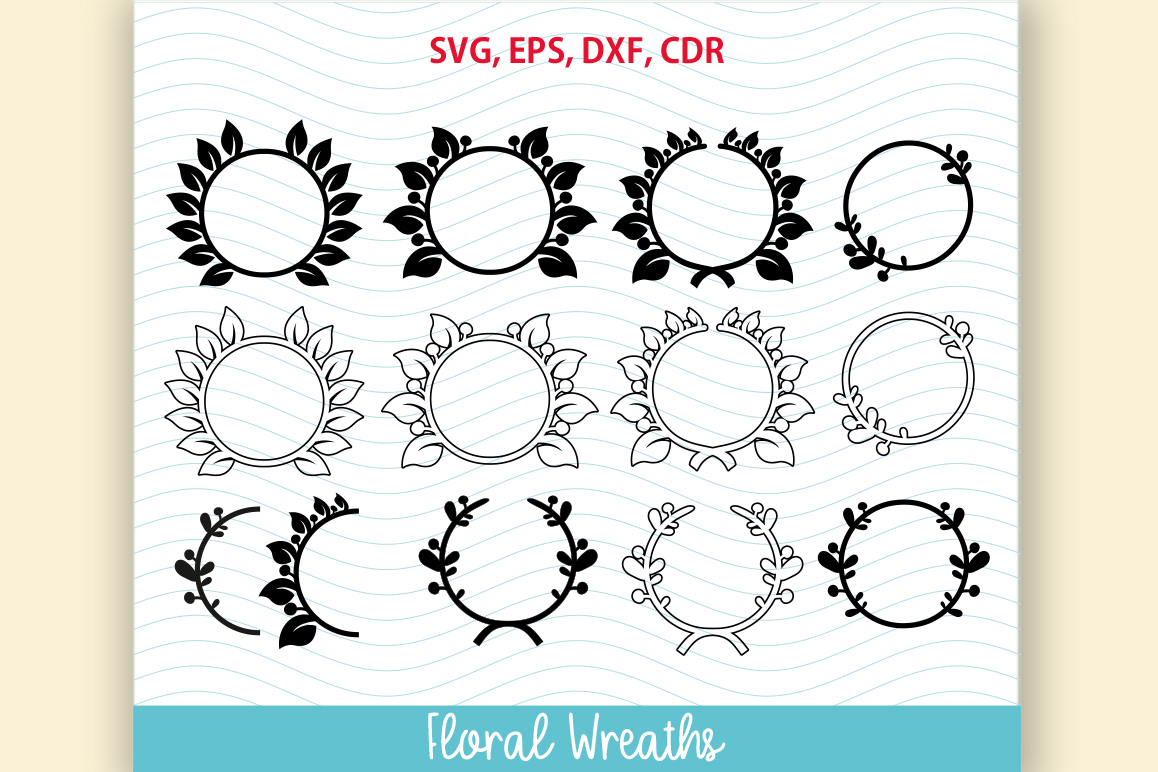 Download Free 12 Flower Floral Wreath Set Graphic By Vector City Skyline for Cricut Explore, Silhouette and other cutting machines.