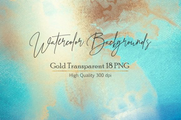 Blue Gold Watercolor Backgrounds Graphic Backgrounds By Creative Paper