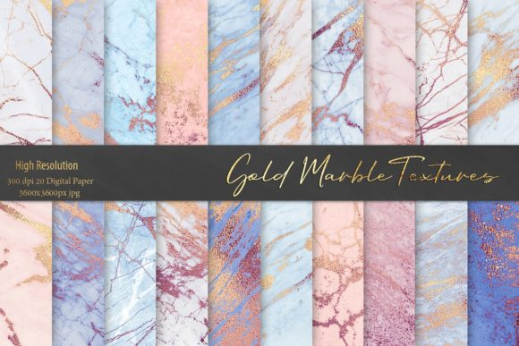 Print on Demand: Rose and Blue Gold Marble Patterns Gráfico Moldes Por Creative Paper
