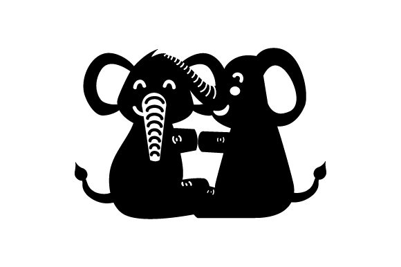 Download Free 2 Baby Elephants Cuddling Together Svg Cut File By Creative for Cricut Explore, Silhouette and other cutting machines.