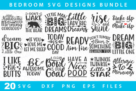 Print on Demand: 20 Bedroom Svg Bundle Graphic Print Templates By DesignSmile