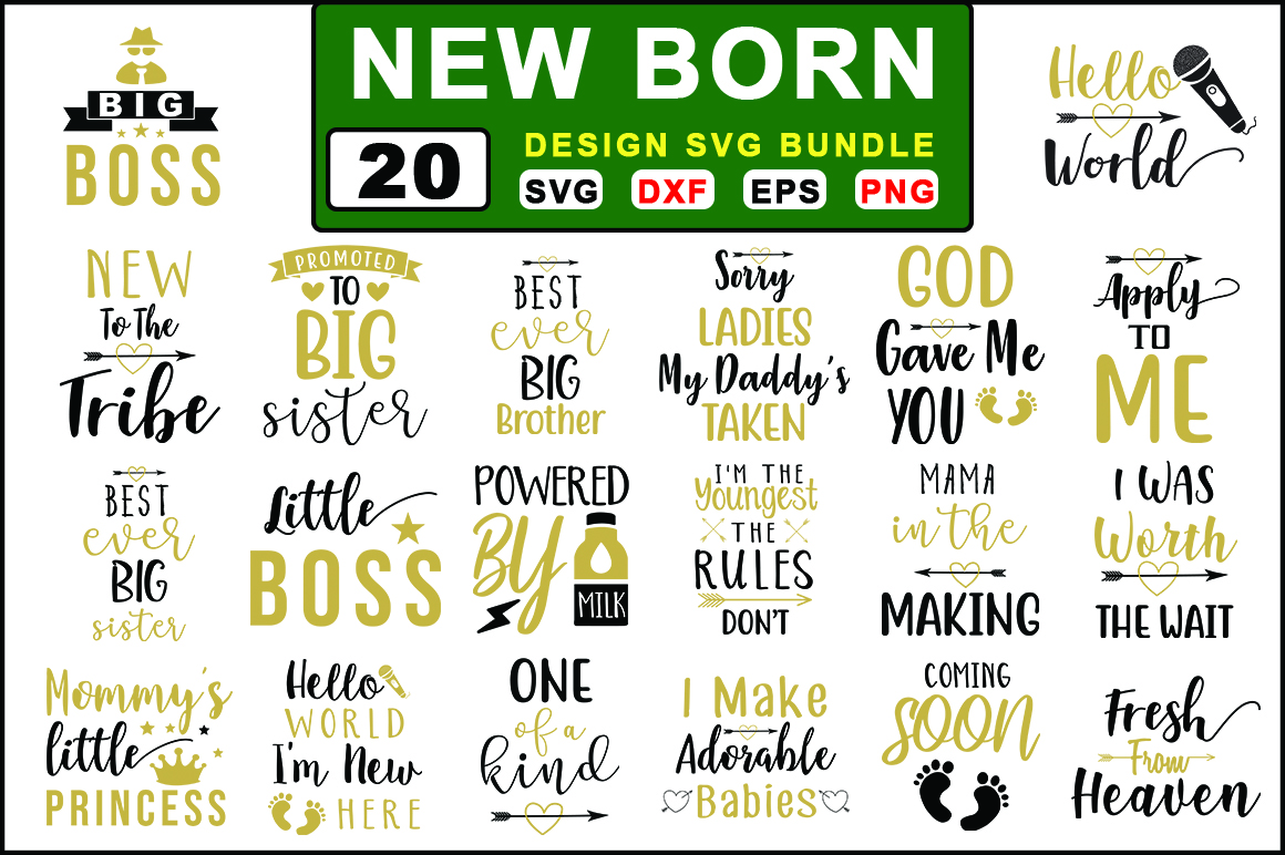 Download Free 20 New Born Bundle Graphic By Graphiccycle Creative Fabrica for Cricut Explore, Silhouette and other cutting machines.