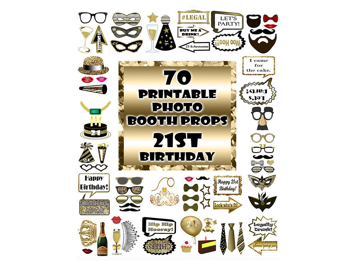 Download Free 21st Birthday Photo Booth Props Gold Graphic By for Cricut Explore, Silhouette and other cutting machines.